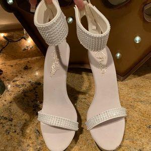 New Pleaser White Rhinestone Heels Size 5
